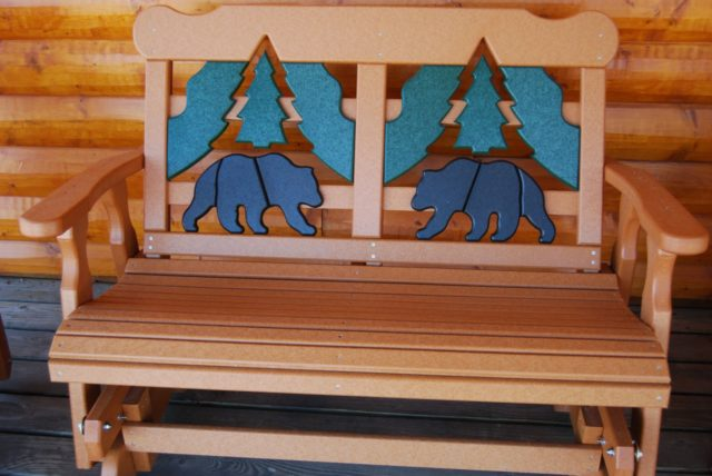 Poly Lumber Outdoor Bear 4 Glider Bench   Cabin Creations | Phillips, WI